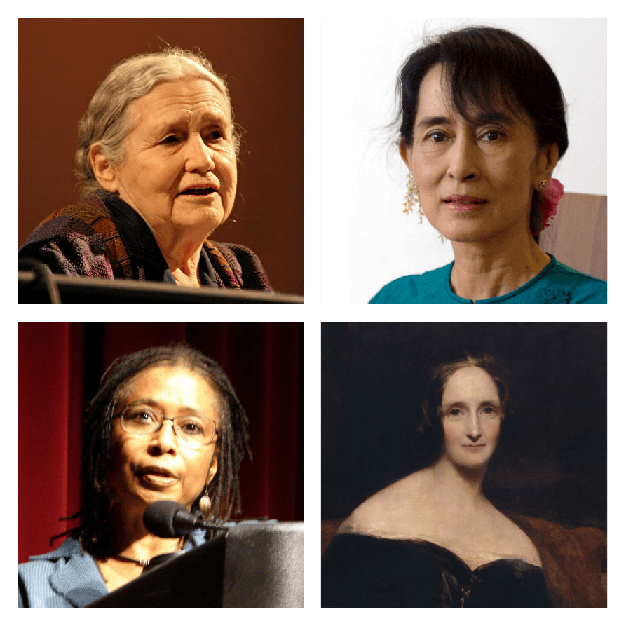 Authors (Left to Right, Top to Bottom), Doris Lessing, Aung San Suu Kyi, Alice Walker, Mary Shelley